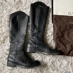 Gucci Black Leather Hotsebit Detail High Boots 39